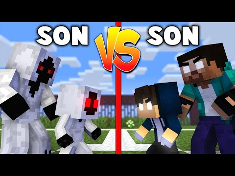 Monster School : SON VS SON - WHO IS THE STRONGEST, HEROBRINE OR ENTITY - Minecraft Animation