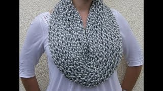 Repeat youtube video How to Knit a Cowl-Neckwarmer Pattern #4 by ThePatterfamily