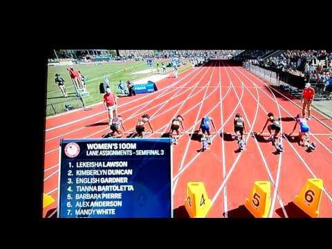 English Gardner 10.74!(Wind Aided) 100m Semi Final Olympic Trials
