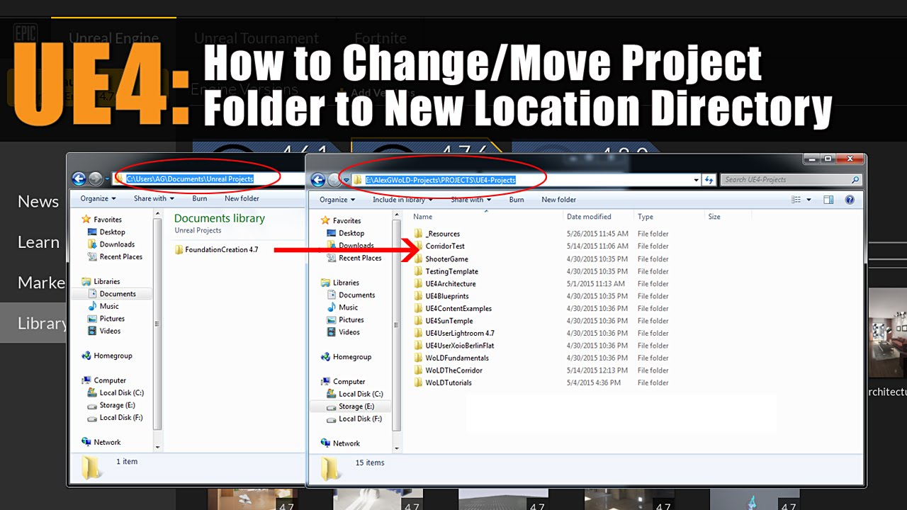 UE4: How to Change/Move Project Folder to New Location Directory
