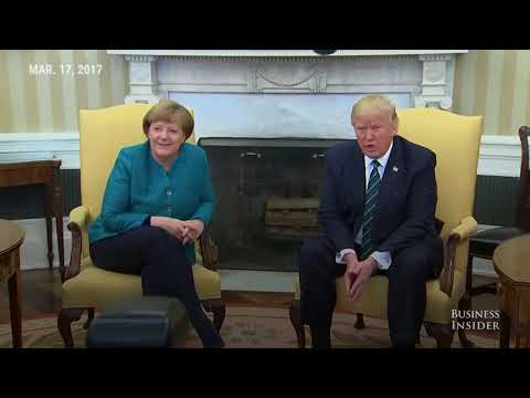 Trump  ignore requests for a handshake with Angela Merkel