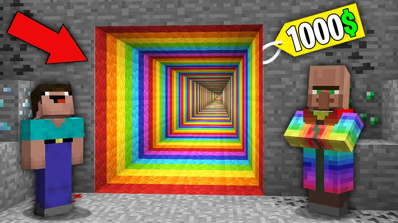 Minecraft NOOB vs PRO: NOOB BOUGHT RAINBOW TUNNEL FOR 1000$ BUT WHERE DOES IT LEAD? 100% trolling