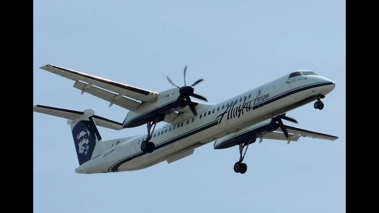 Alaska Airlines Horizon Air Bombardier Dch 8 Q400 N434mk Landing In Lax Youtube