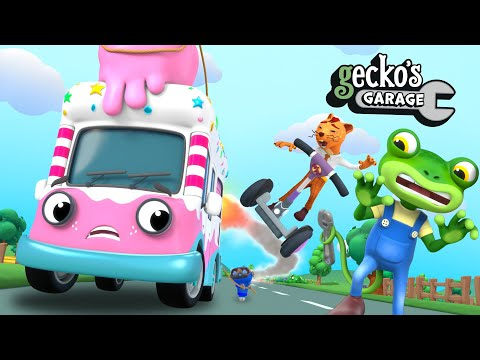 Mr. Weasel's Ice Cream Explosion!|Gecko's Garage|Funny Cartoon For Kids|Learning Videos For Toddlers