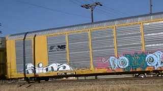 BNSF 4896 leads eastbound autorack train.