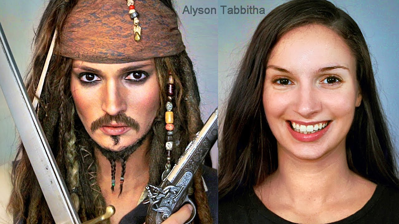 Alyson Tabbitha jack sparrow makeup transformation - cosplay tutorial - youtube