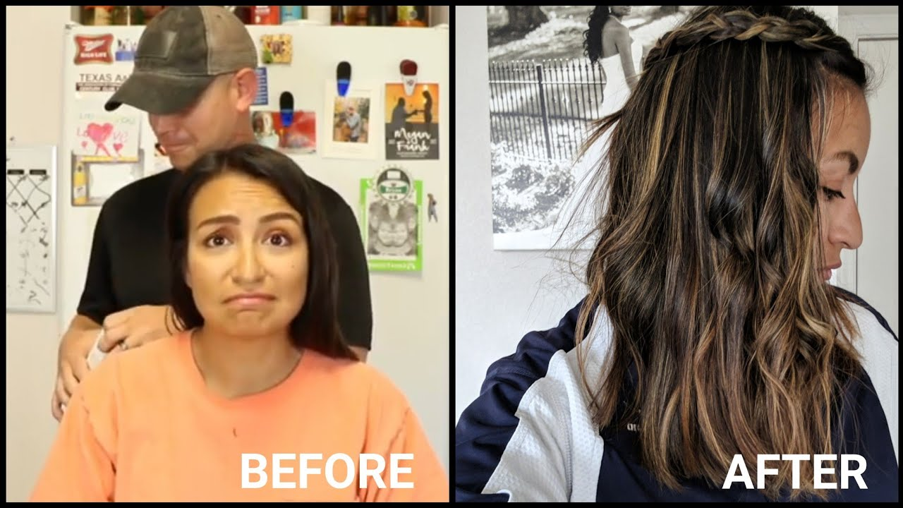 My Husband Highlights My Hair Loreal Frost And Design Caramel On Dark Hair Youtube