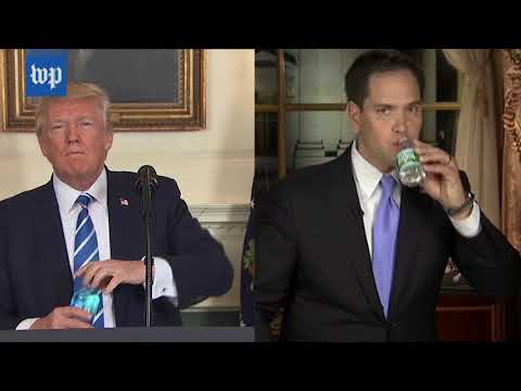 Trump and Rubio's water bottle moments