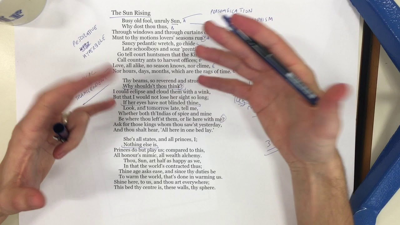 The Sun Rising Donne Metaphysical Poetry 5 Youtube Poem Annotated