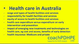 HSC PDHPE Core 1 - Health Care in Australia