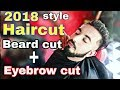 2018 new haircut style  undercut + Beard cut + eyebrows cut new style