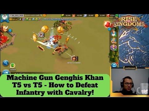 T5 Infantry Vs T5 Cavalry! Charles + Richard Vs Machine Gun Genghis Khan! Rise Of Kingdoms