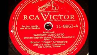 Warsaw Concerto(Pt-1) by Arthur Fiedler & Boston Pops on 1944 RCA Victor 78.