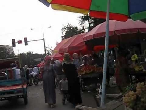 The streets outside a bazaar in Hotan, Xinjiang, China.