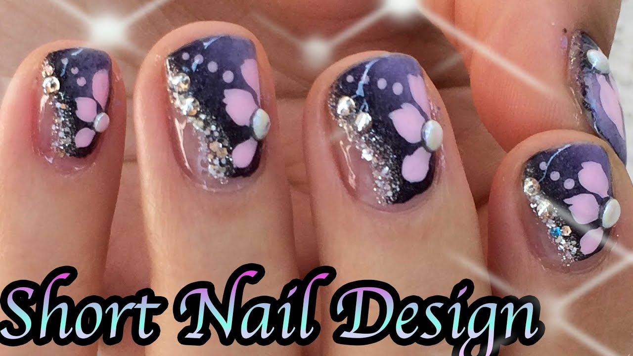 Purple nails pink flowers nail art design youtube prinsesfo Choice Image