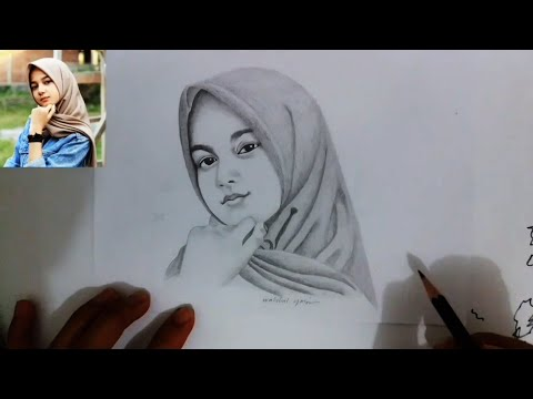 Menggambar Cewe Cantik Berhijab Menggunakan Pensil Youtube