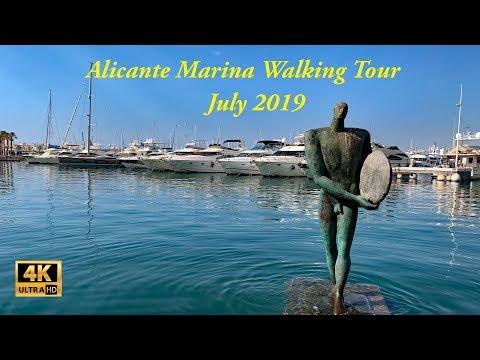 Walking Tour Alicante Marina in July 2019 in 4K