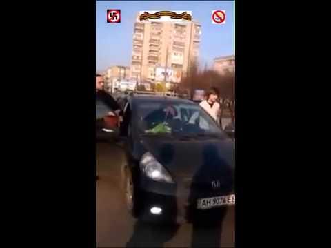 #Бендеровцы против георгиевских ленточек  #Ровно  Нападение на автомобилиста