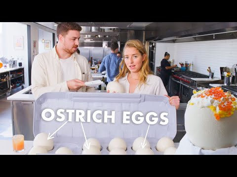 Pro Chef Learns How to Cook Ostrich Eggs | Bon Apptit