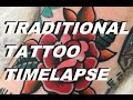 TRADITIONAL ROSE TATTOO TIMELAPSE