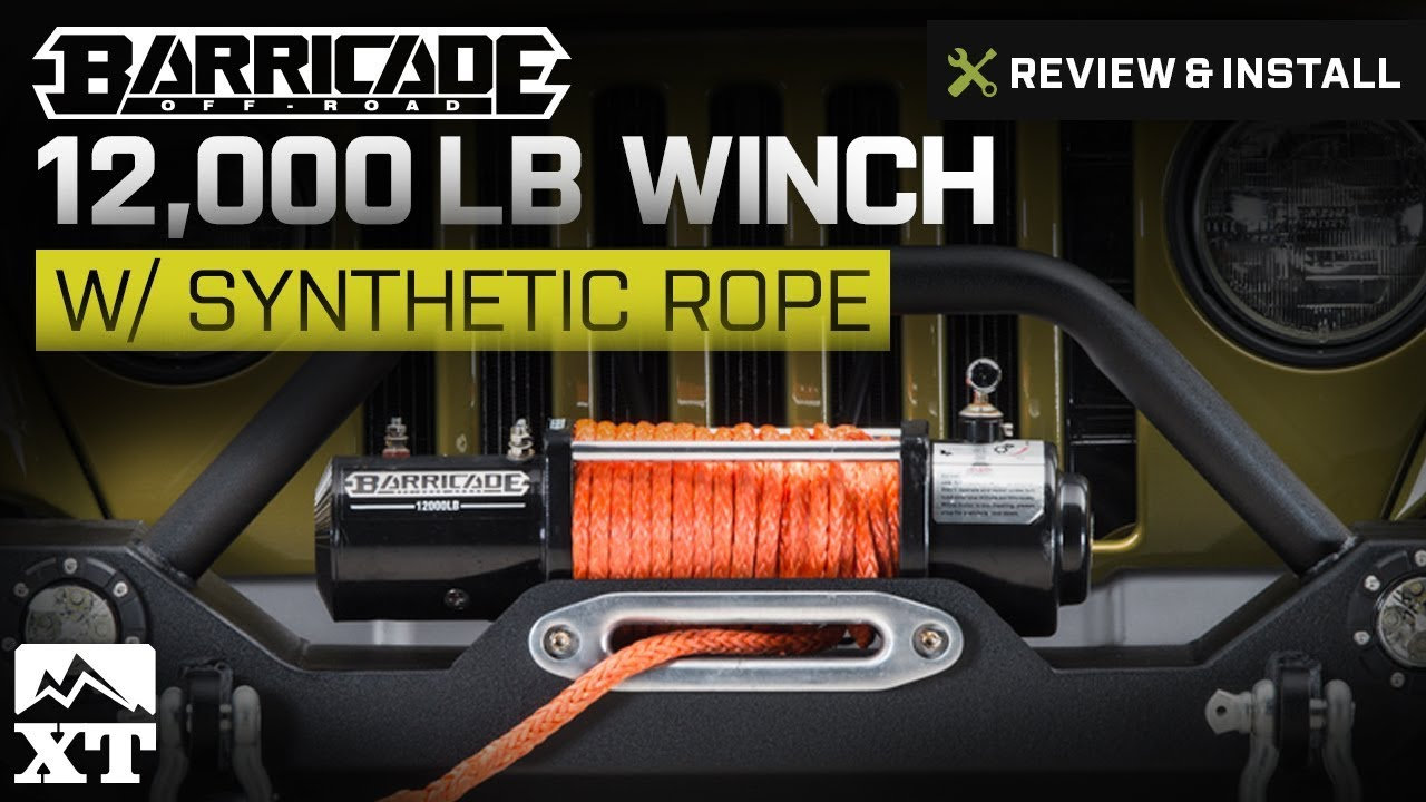 jeep wrangler 1987 2017 yj tj jk barricade 12 000lb winch w synthetic rope review install [ 1280 x 720 Pixel ]