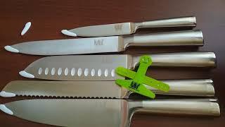 Набор кухонных ножей с металлической ручкой