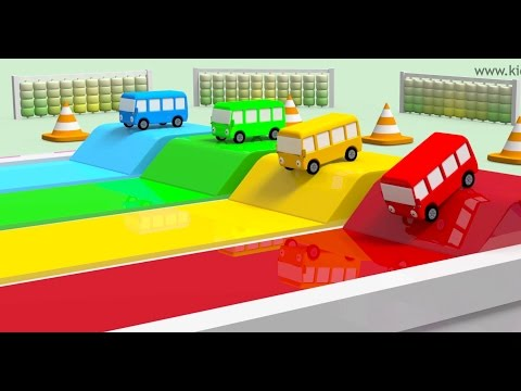 Thumbnail: Wheels on the bus race with numbers | Best children learning videos | Kiddiestv