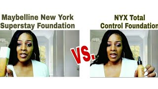 MAYBELLINE NEW YORK SUPERSTAY FOUNDATION VS. NYX TOTAL CONTROL FOUNDATION | FIRST IMPRESSION  | wIJb
