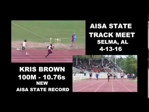 Watch Escambia Academy's Kris Brown break a 29 yr old AISA state record in 100m w/ 10.76 in prelim.