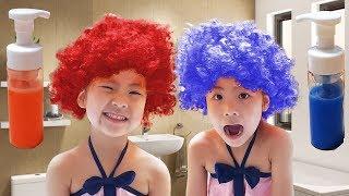 머리 색깔이 완전~~~!! 서은이와 엄마의 미용실 놀이 색깔 가발 파마 Pretend Play Hairdresser