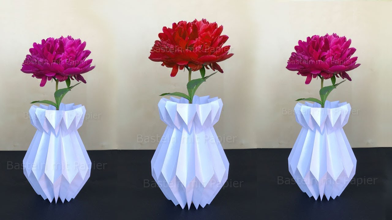Vase basteln mit Papier  Deko selber machen  DIY Bastelideen  Geschenke  YouTube