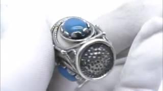 Напёрсток Агат синий скань наперсток подарок аксессуар сувенир Посеребрение 734 28