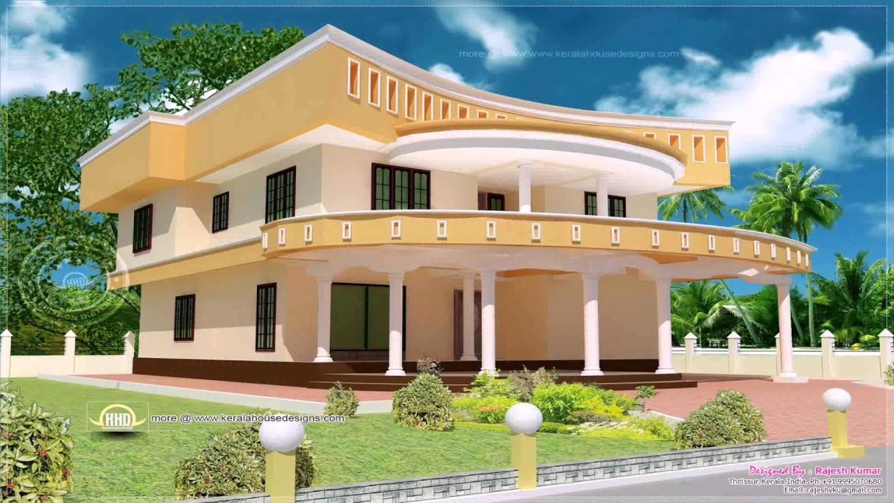 Kerala style house painting design youtube for Home design in village