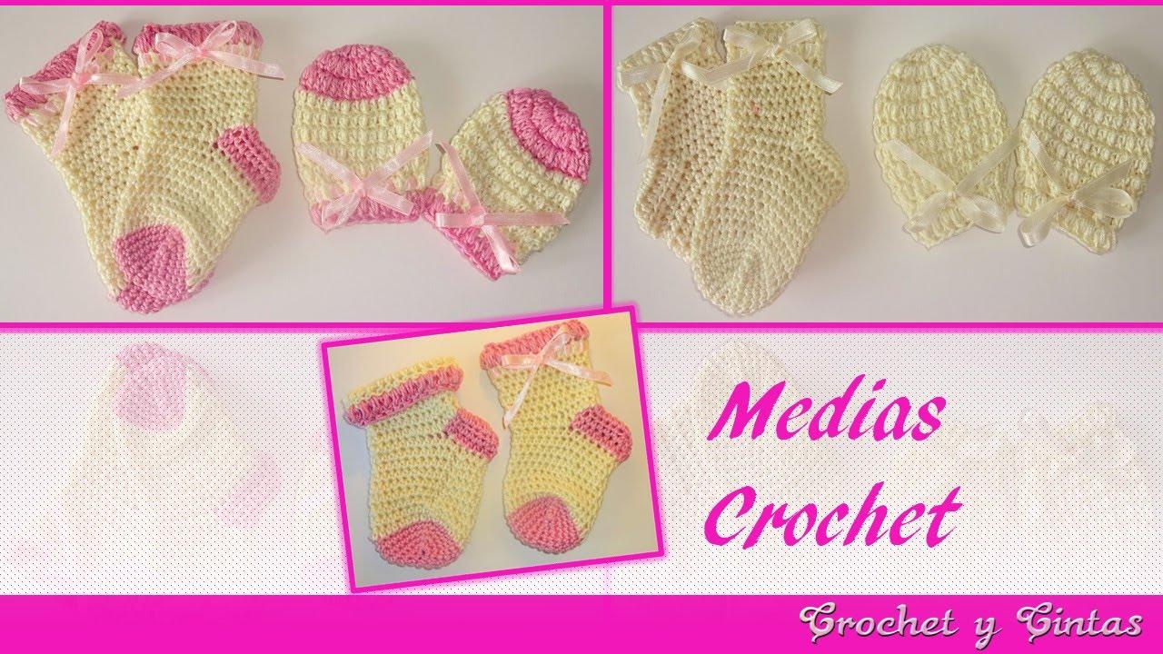 Medias - calcetines tejidos a crochet (ganchillo) para bebés - YouTube