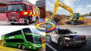 Изучаем Транспорт и Спецтехнику для детей. Виды Строительного Транспорта для малышей