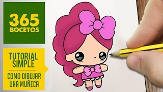 COMO DIBUJAR UNA MUÑECA KAWAII PASO A PASO - Dibujos kawaii faciles - How to draw a doll