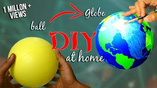 How to make a Globe using ball - DIY / Earth model making