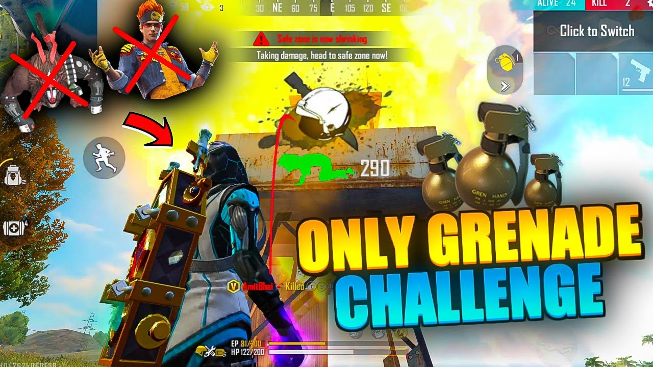Only Grenade Challenge in Rank || Free Fire || Desi Gamers