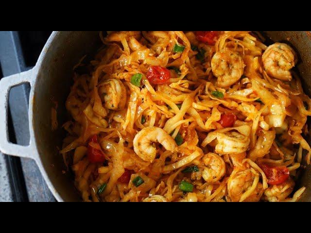 Cabbage With Shrimp #TastyTuesdays | CaribbeanPot.com