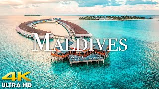 FLYING OVER MALDIVES (4K UHD) Beautiful Nature Scenery with Relaxing Music (4K Video Ultra HD)