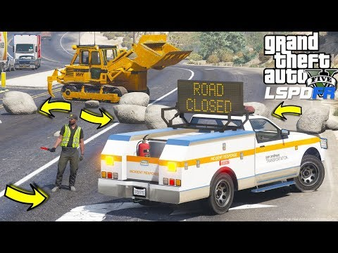 GTA 5 LSPDFR Department of Transportation Message Board Truck Responds To Rocks Blocking The Road