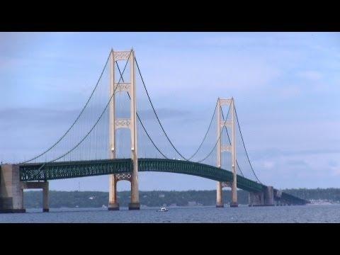 Driving across the Mackinac Bridge -  Michigan