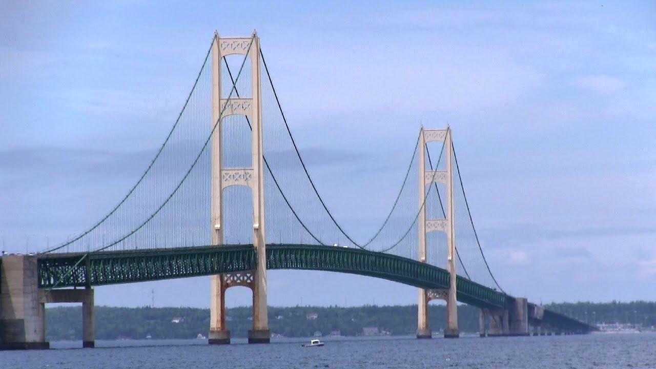 driving across the mackinac bridge michigan youtube