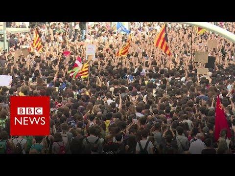 Catalonia referendum: Thousands protest Spanish police violence - BBC News