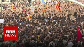 Catalonia referendum: Thousands protest Spanish police violence - BBC News