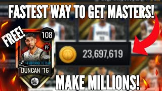 FASTEST WAY TO GET 108 MASTERS FREE!!! MAKE MILLIONS!! NBA LIVE MOBILE 20