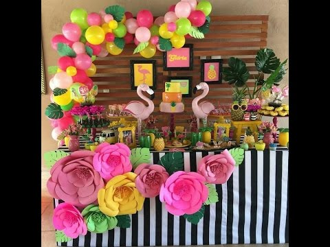 Fiesta de flamingos party 2017 fiestas infantiles for Decoracion para mesa dulce