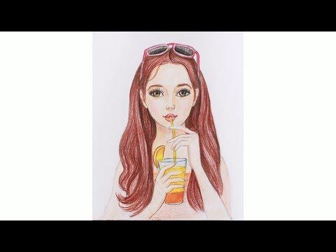 Как нарисовать девочку с жвачкой