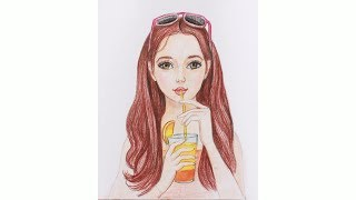Уроки рисования. Как нарисовать девушку с коктейлем цветными карандашами | Art School
