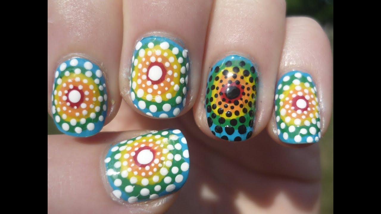 Tie Dye Polka Dot Nail Art Tutorial Youtube